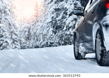 winter road in the morning - stock photo