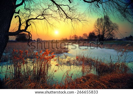 Winter rural landscape at sunset - stock photo