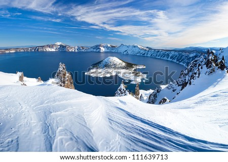 Winter Scene at Crater Lake Volcano - stock photo