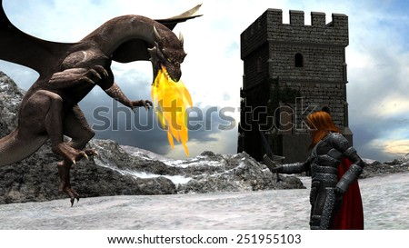 Winter Scene of a Brave Knight Fighting with a Dragon in front of a Castle - stock photo