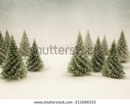 Winter scene snow and green pine trees - stock photo