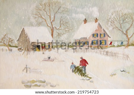 Winter scene with farmhouse/ digital watercolor - stock photo