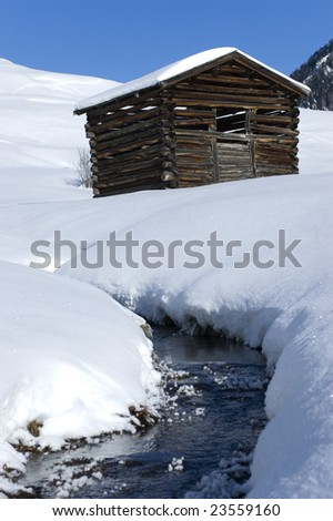 Winter scenery in the alps - stock photo