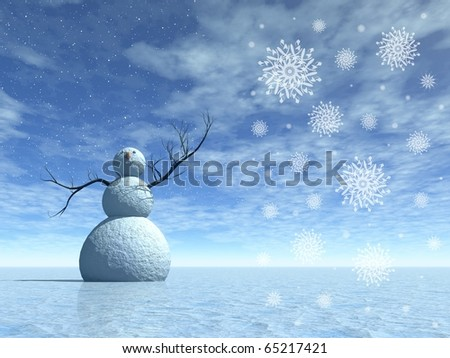 Winter scenery with snowman, 3d render illustration for christmas days - stock photo