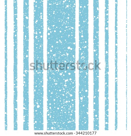 Winter seamless pattern. White stripes of different width on blue backdrop and snow splash grunge texture. Brush drawn - rough, artistic edges. Striped new year background. Raster version. - stock photo