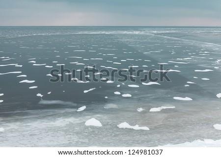 Winter seascape - stock photo