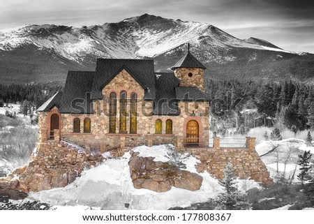 Winter Season view of St Malo's Chapel on the Rock, Built atop a massive granite rock, it's in every way a part of the valley landscape.  - stock photo