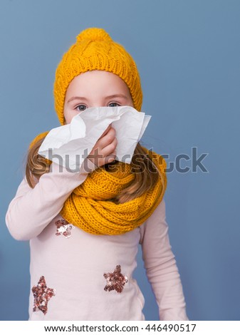 winter seasonal infection of a little girl - stock photo