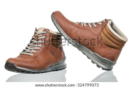 winter shoes isolated on white background - stock photo