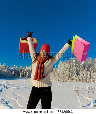 Winter Shopping Woman - stock photo