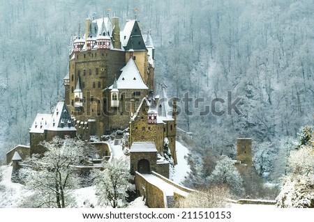 Winter shot of German castle - stock photo