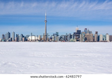 Winter skyline of Toronto, Canada - stock photo