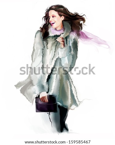 Winter smiling fashion girl - stock photo