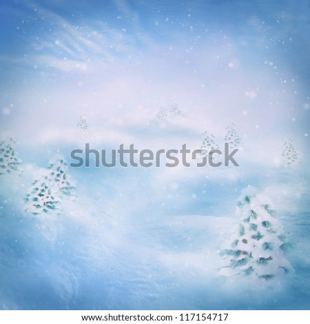 Winter snow background. Pine forest. Snow on the hills with blue sky in the back. - stock photo