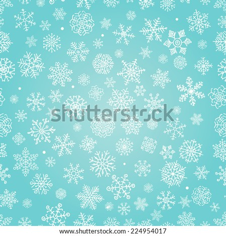 Winter Snow Flakes Doodles. Seamless Background Pattern. Hand-Drawn Illustration.  - stock photo
