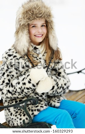 Winter, snow, winter fashion girl - stock photo