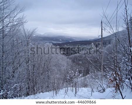 Winter Snowshoeing along the Appalachian Trail - stock photo