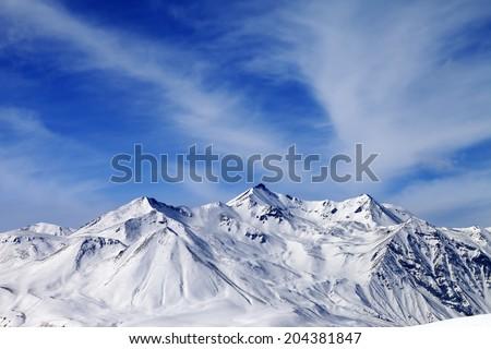 Winter snowy mountains. Caucasus Mountains, Georgia, Gudauri. View from ski resort. - stock photo
