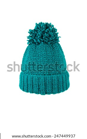 winter soft warm blue knitted hat with braids patterns handmade isolated - stock photo