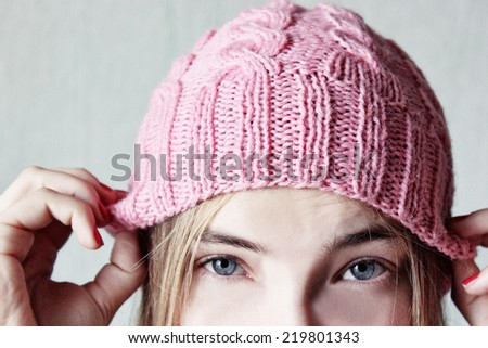 Winter soon, Pink background, Promise, Beautiful young girl - stock photo