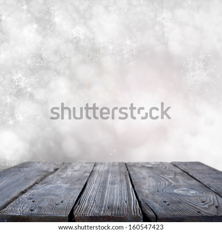 winter space and blue table  - stock photo