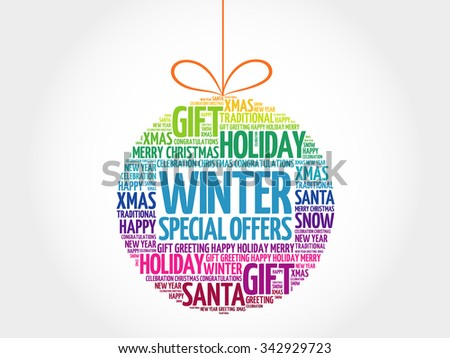 Winter Special Offers christmas ball word cloud, holidays lettering collage - stock photo