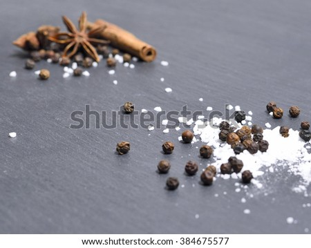 Winter spices on slate or stone background. Selective focus of pepper, salt, cinnamon and star anise with copy space. - stock photo