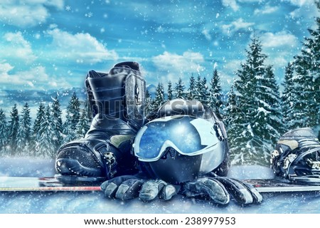 Winter sport equipment on winter forest background - stock photo