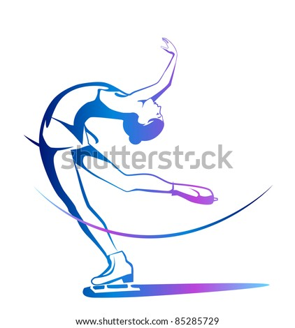 Winter sport. Ladies figure skating.  Ice show. - stock photo