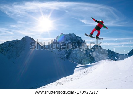 winter sport snowboarding in snow mountain - stock photo