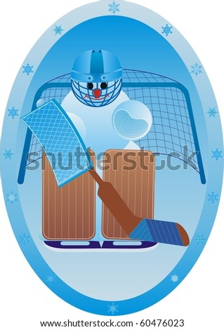 Winter sport. Snowman athlete.Goalkeeper. - stock photo