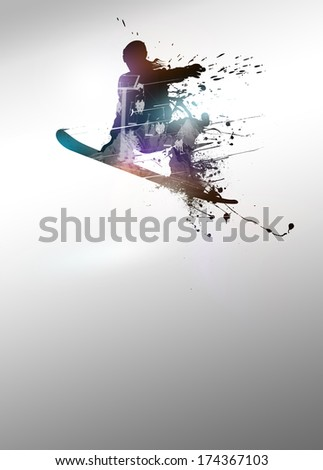 Winter sport vacation, snowboard jump poster or flyer background with space - stock photo