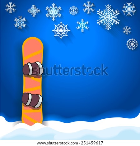winter sports poster  background with snowboard snowflake and place for text - stock photo