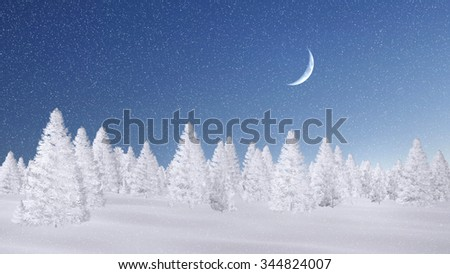 Winter spruce forest completely covered with snow at magical snowfall night with a half moon. Decorative 3D illustration was done from my own 3D rendering file. - stock photo