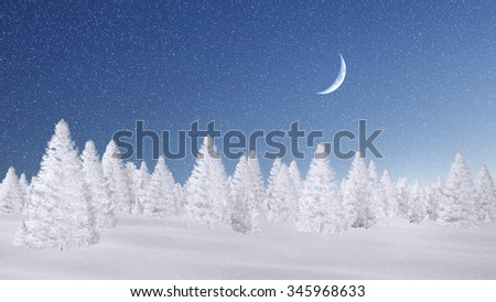 Winter spruce forest completely covered with snow at magical snowfall night with half moon. Decorative 3D illustration was done from my own 3D rendering file. - stock photo