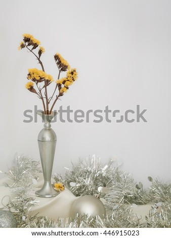 Winter still life. With silver baubles, tinsel etc. Elegant background. Christmas or general. - stock photo