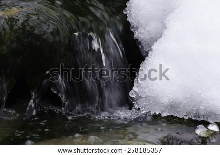 Winter Stream with Ice - stock photo