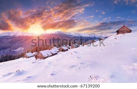 winter sunrise in the Carpathian mountains - stock photo