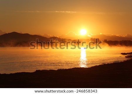 Winter sunrise landscape in the beach of Majorca  - stock photo