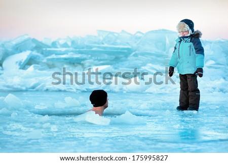 Winter swimming - stock photo