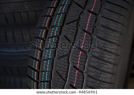 Winter tires close up - stock photo