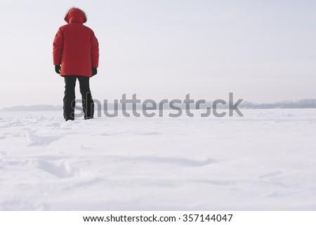 winter traveler - stock photo