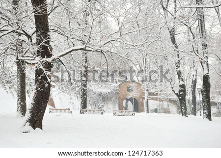 Winter Tree Park and Castle Fort Gate - stock photo