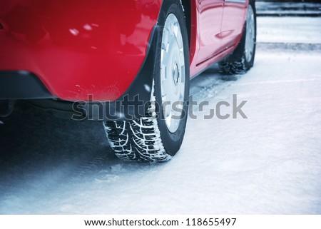 Winter tyres. Element of design. - stock photo