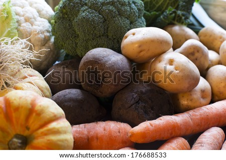 Winter vegetables including beetroot, carrots and potatoes. - stock photo