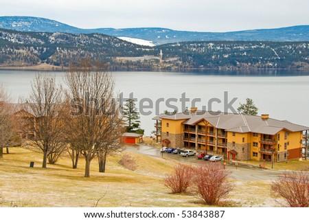 Winter view at Okanagan lake in Kelowna, British Columbia, Canada. - stock photo