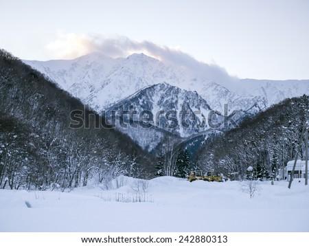 Winter view mountain valley snow field, Kashimayari, Nagano, Japan. - stock photo