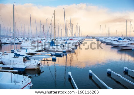 Winter view of a marina in Trondheim - stock photo