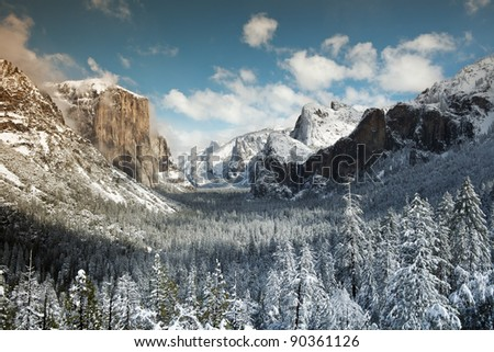 Winter View of  El Capitan, Bridal Veil Falls and Half Dome seen from the Tunnel view. Yosemite National Park - stock photo