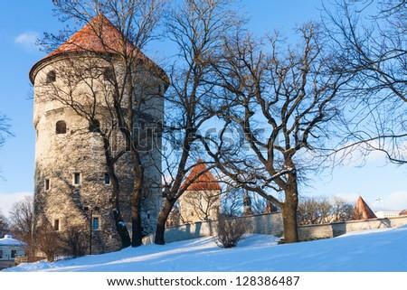 Winter view of fortress bastion towers Tallinn, Estonia - stock photo